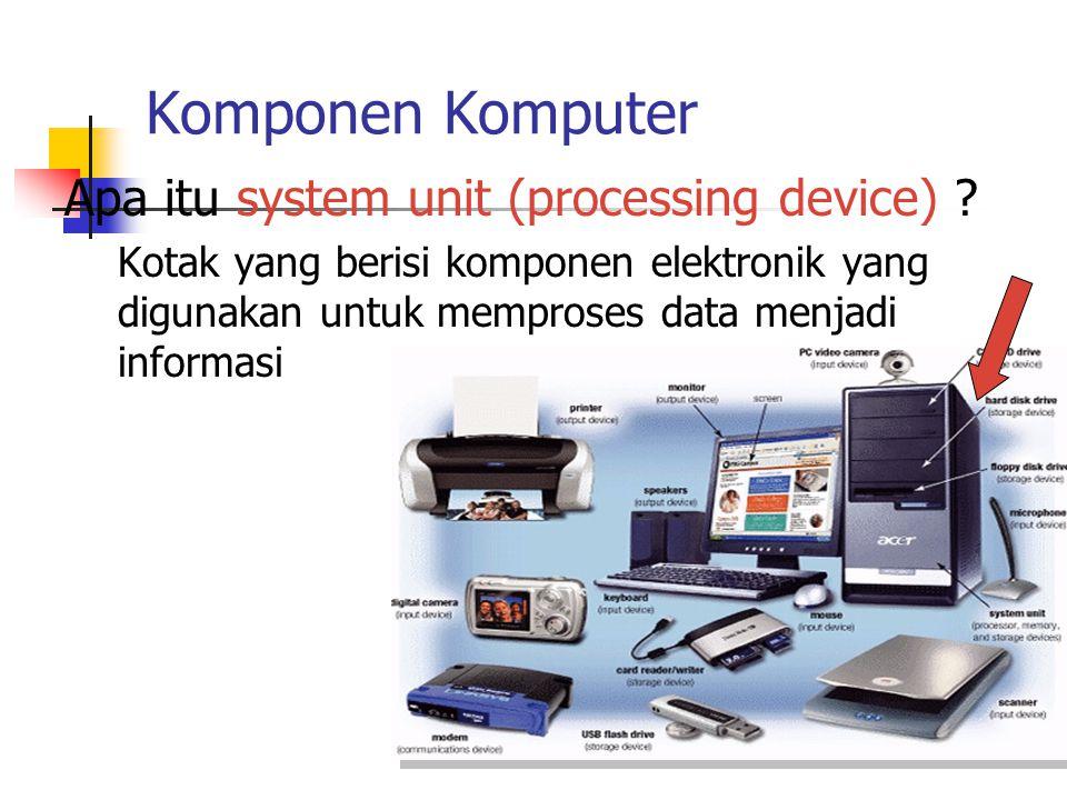 Komponen Komputer Apa itu system unit (processing device) ? Kotak yang berisi komponen elektronik yang digunakan untuk memproses data menjadi informas