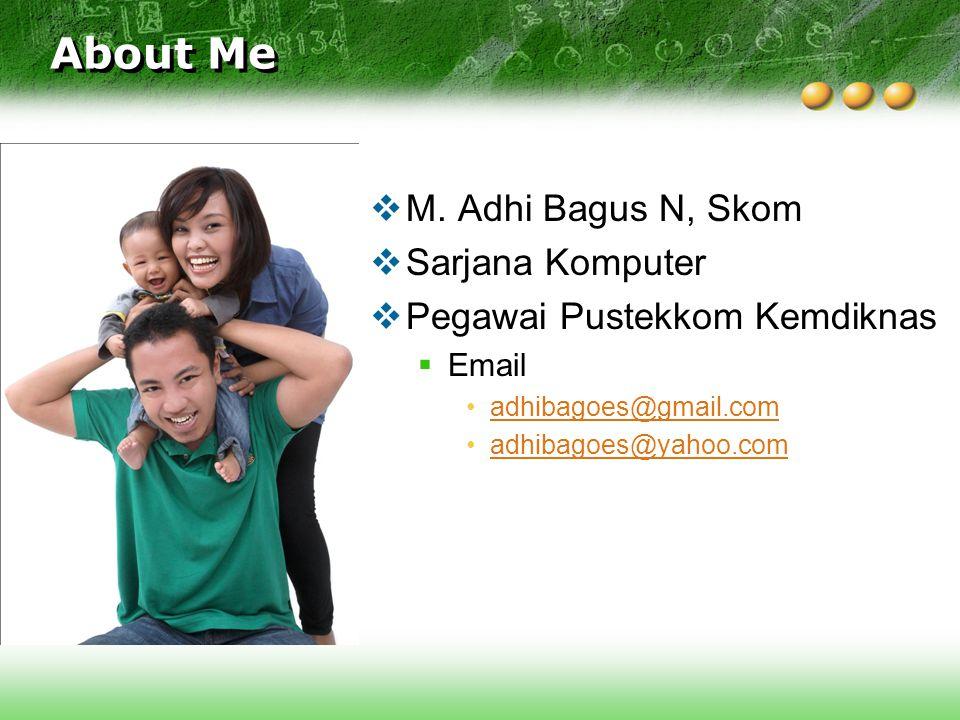 About Me  M. Adhi Bagus N, Skom  Sarjana Komputer  Pegawai Pustekkom Kemdiknas  Email adhibagoes@gmail.com adhibagoes@yahoo.com
