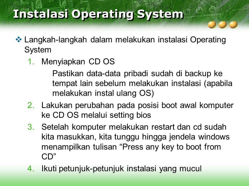 Instalasi Operating System  Langkah-langkah dalam melakukan instalasi Operating System 1.Menyiapkan CD OS Pastikan data-data pribadi sudah di backup
