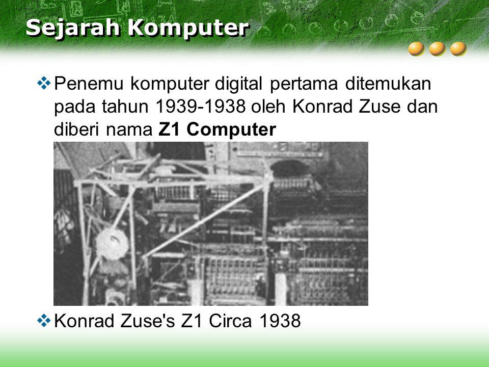 Sejarah Komputer  Penemu komputer digital pertama ditemukan pada tahun 1939-1938 oleh Konrad Zuse dan diberi nama Z1 Computer  Konrad Zuse's Z1 Circ