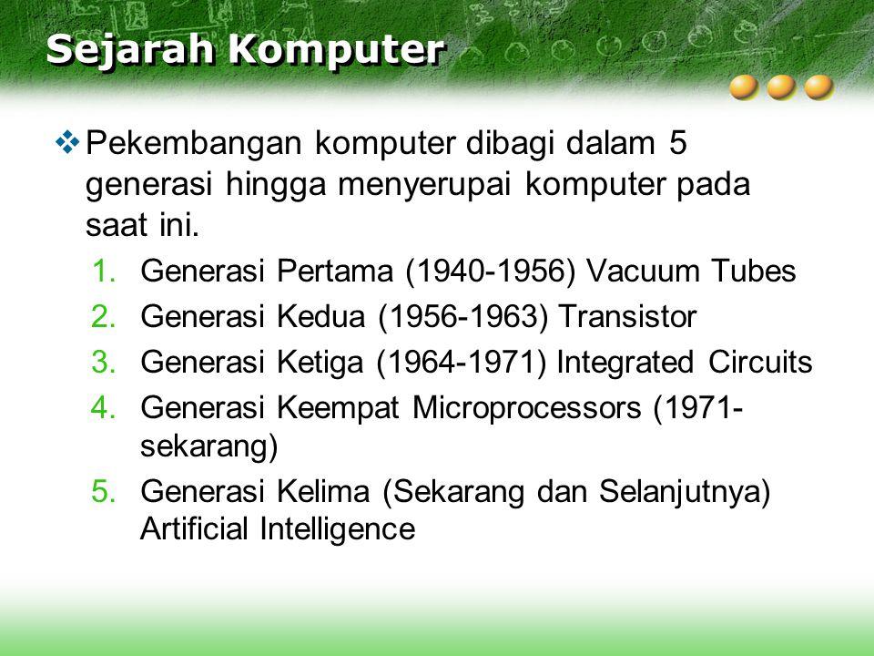 Sejarah Komputer  Pekembangan komputer dibagi dalam 5 generasi hingga menyerupai komputer pada saat ini. 1.Generasi Pertama (1940-1956) Vacuum Tubes