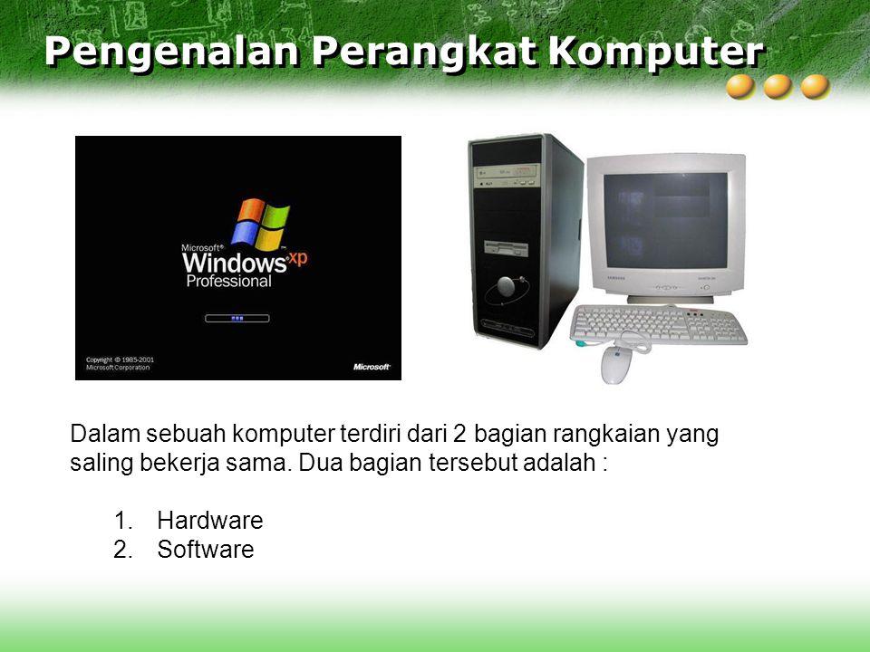 Dalam sebuah komputer terdiri dari 2 bagian rangkaian yang saling bekerja sama. Dua bagian tersebut adalah : 1.Hardware 2.Software Pengenalan Perangka