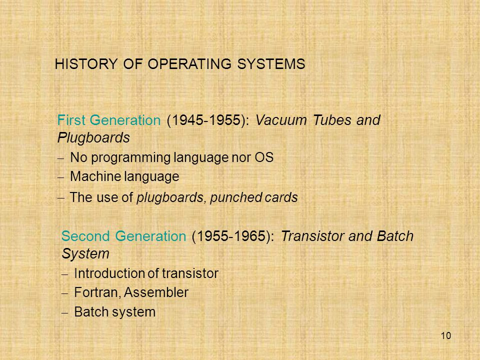 10 HISTORY OF OPERATING SYSTEMS First Generation (1945-1955): Vacuum Tubes and Plugboards  No programming language nor OS  Machine language  The us