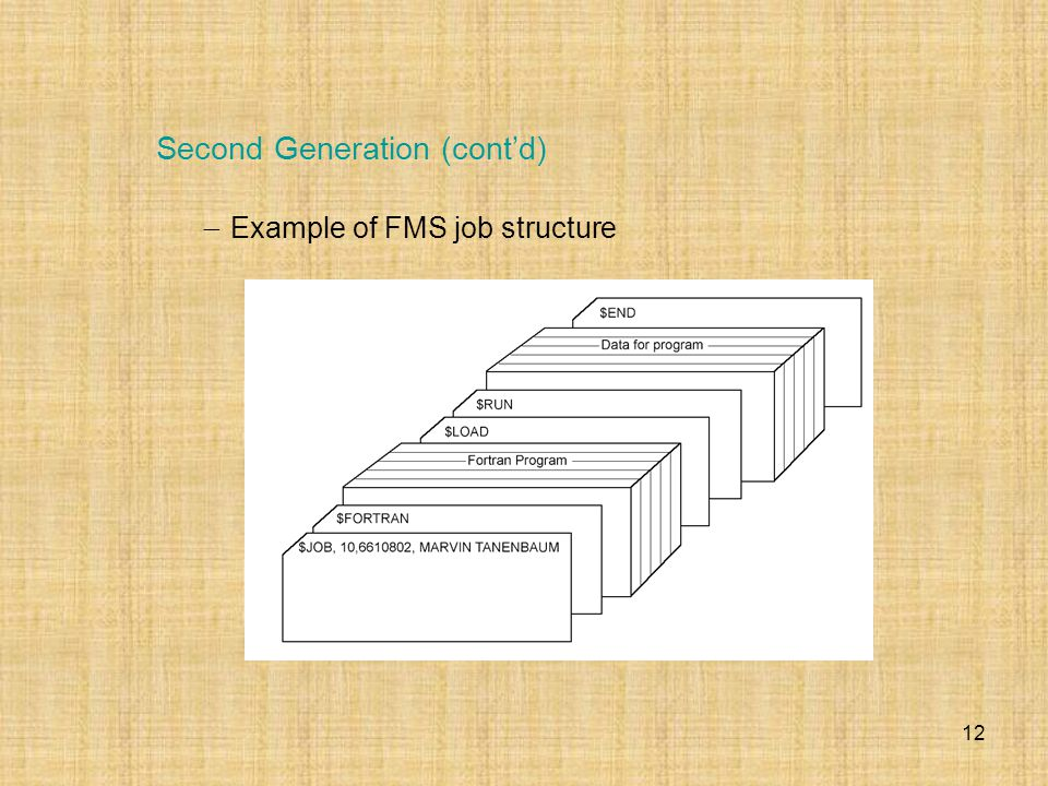 12  Example of FMS job structure Second Generation (cont'd)