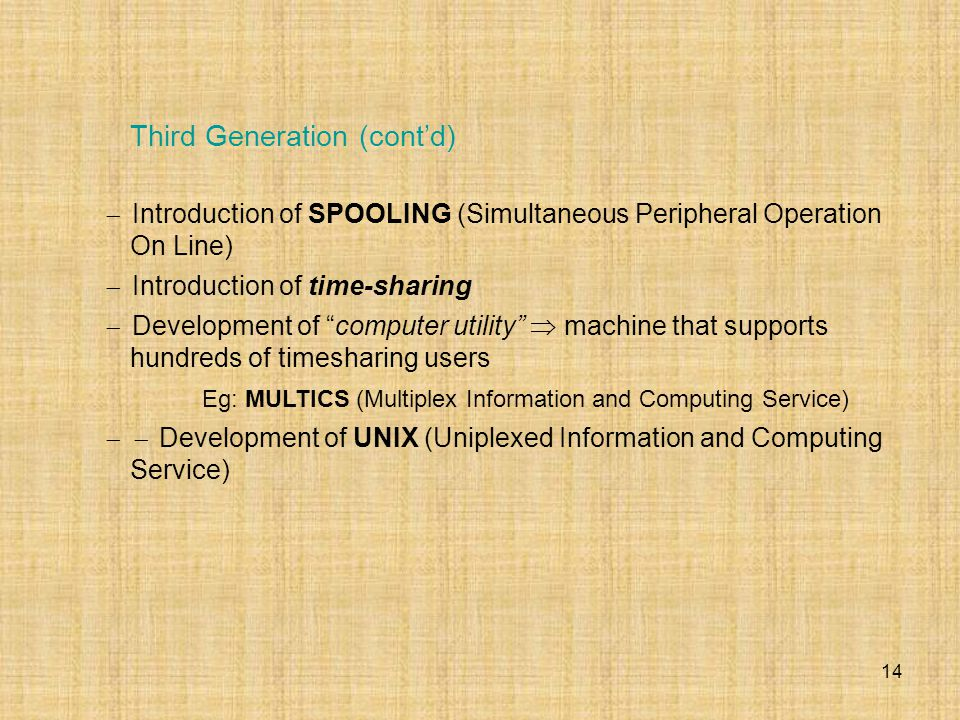"14  Introduction of SPOOLING (Simultaneous Peripheral Operation On Line)  Introduction of time-sharing  Development of ""computer utility""  machine"