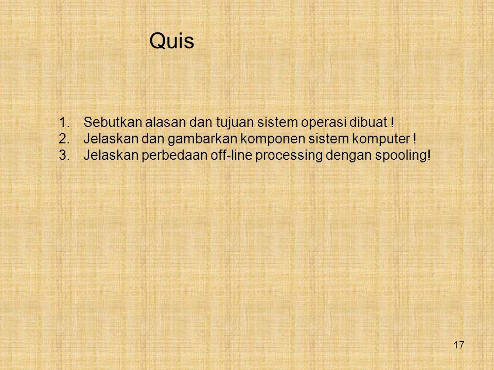 17 Quis 1.Sebutkan alasan dan tujuan sistem operasi dibuat .