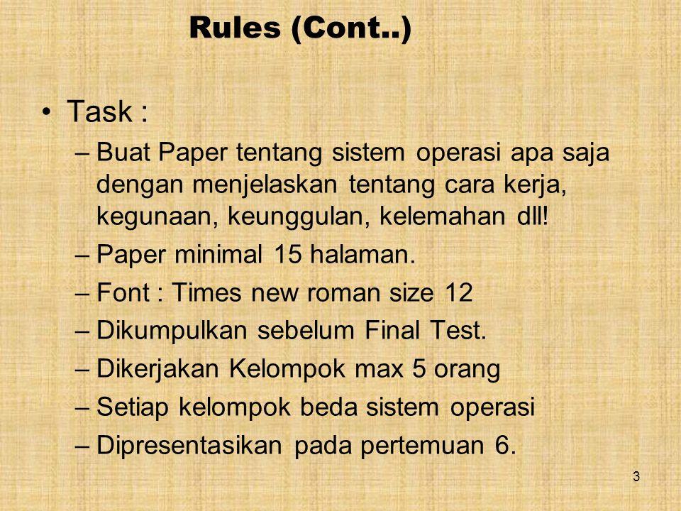 Rules (Cont..) Task : –Buat Paper tentang sistem operasi apa saja dengan menjelaskan tentang cara kerja, kegunaan, keunggulan, kelemahan dll.