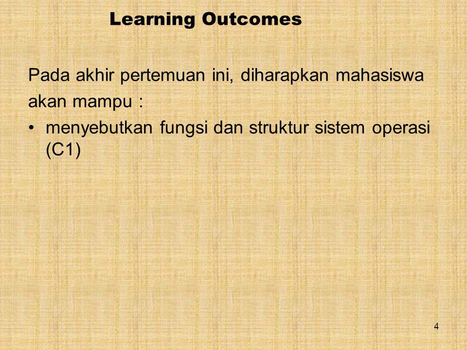 4 Learning Outcomes Pada akhir pertemuan ini, diharapkan mahasiswa akan mampu : menyebutkan fungsi dan struktur sistem operasi (C1)