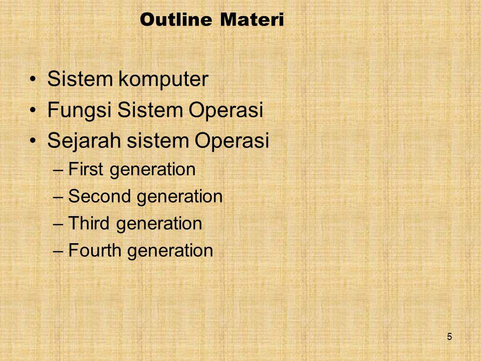 5 Outline Materi Sistem komputer Fungsi Sistem Operasi Sejarah sistem Operasi –First generation –Second generation –Third generation –Fourth generation