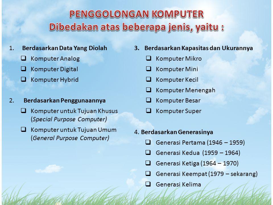 1. Berdasarkan Data Yang Diolah  Komputer Analog  Komputer Digital  Komputer Hybrid 2. Berdasarkan Penggunaannya  Komputer untuk Tujuan Khusus (Sp