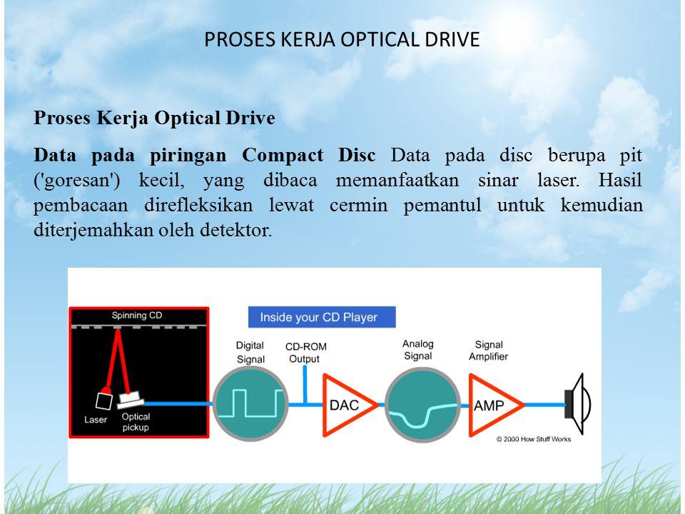PROSES KERJA OPTICAL DRIVE Proses Kerja Optical Drive Data pada piringan Compact Disc Data pada disc berupa pit ('goresan') kecil, yang dibaca memanfa