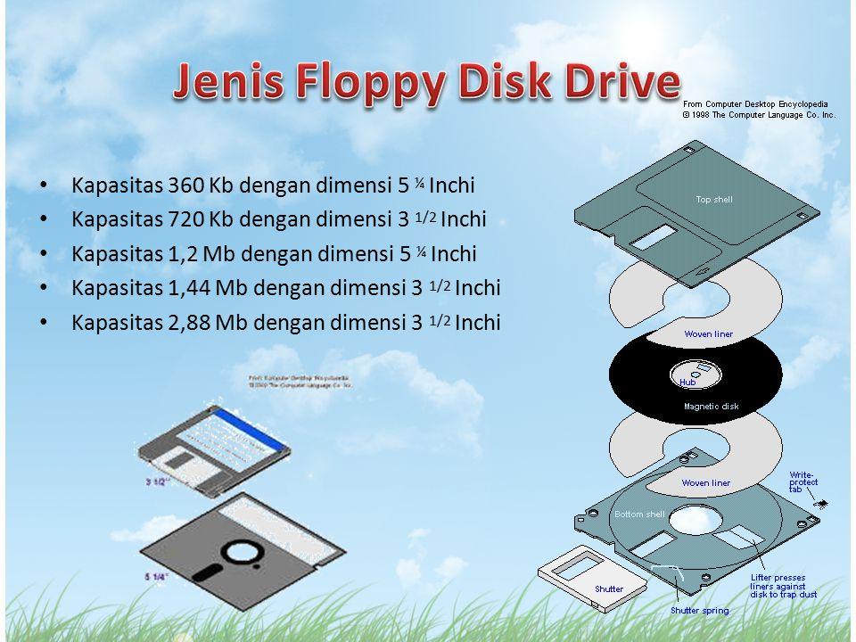 Kapasitas 360 Kb dengan dimensi 5 ¼ Inchi Kapasitas 720 Kb dengan dimensi 3 1/2 Inchi Kapasitas 1,2 Mb dengan dimensi 5 ¼ Inchi Kapasitas 1,44 Mb deng