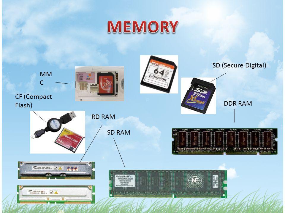 SD (Secure Digital) MM C DDR RAM SD RAM RD RAM CF (Compact Flash)