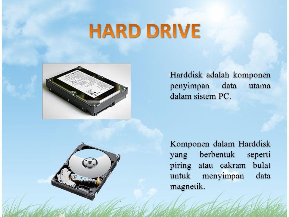 Harddisk adalah komponen penyimpan data utama dalam sistem PC. Komponen dalam Harddisk yang berbentuk seperti piring atau cakram bulat untuk menyimpan