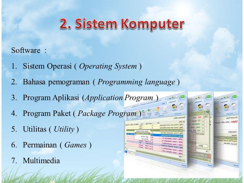 Software : 1.Sistem Operasi ( Operating System ) 2.Bahasa pemograman ( Programming language ) 3.Program Aplikasi (Application Program ) 4.Program Pake
