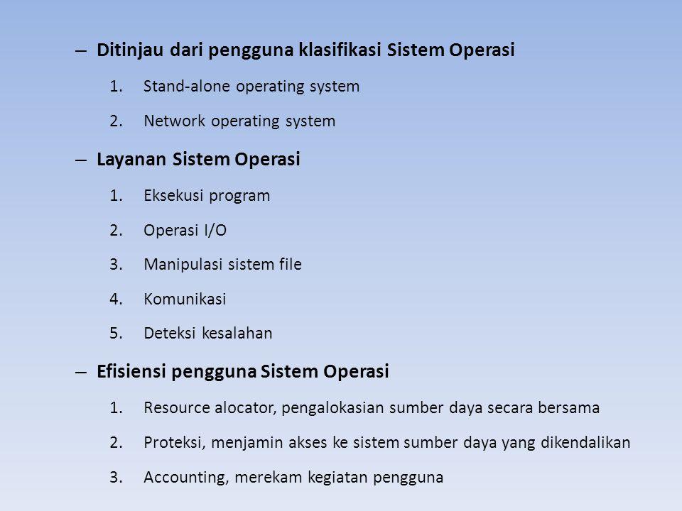 – Ditinjau dari pengguna klasifikasi Sistem Operasi 1.Stand-alone operating system 2.Network operating system – Layanan Sistem Operasi 1.Eksekusi prog