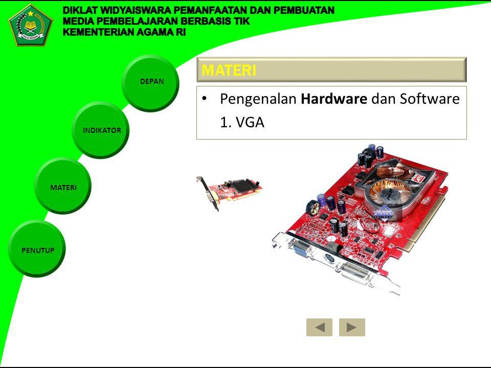 DEPAN INDIKATOR MATERI PENUTUP MATERI Pengenalan Hardware dan Software 1. VGA