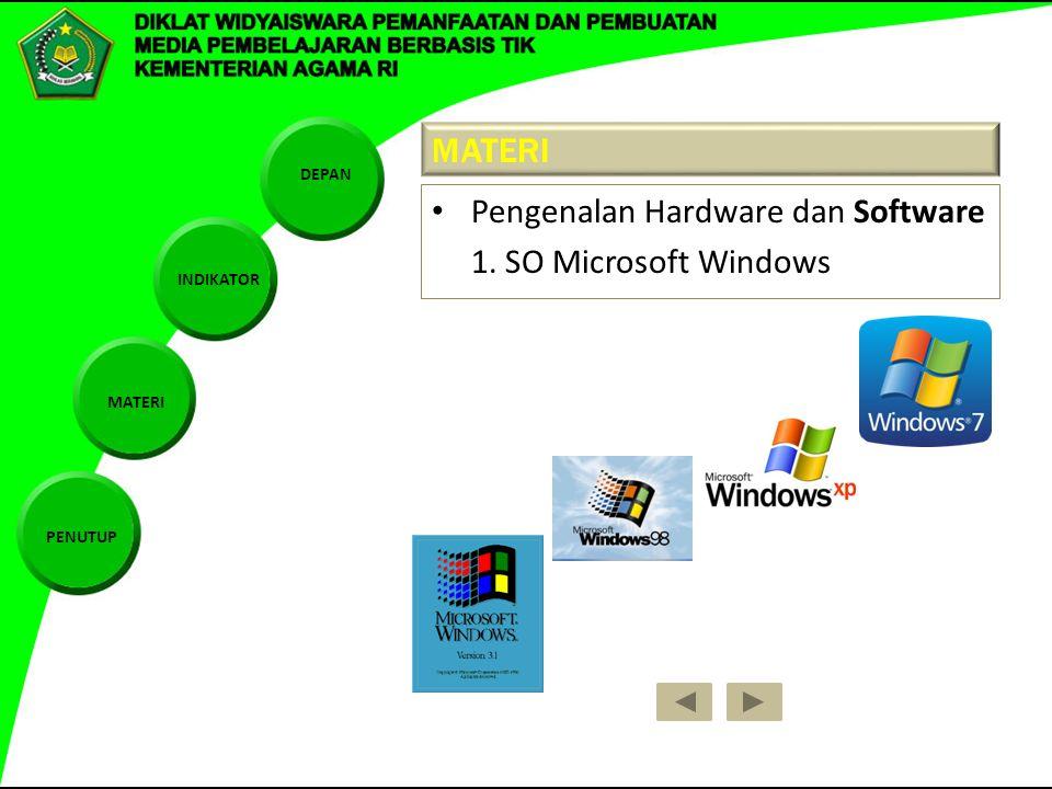 DEPAN INDIKATOR MATERI PENUTUP MATERI Pengenalan Hardware dan Software 1. SO Microsoft Windows