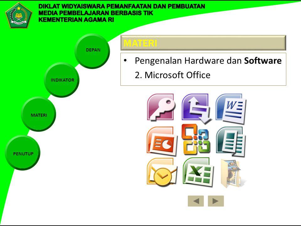 DEPAN INDIKATOR MATERI PENUTUP MATERI Pengenalan Hardware dan Software 2. Microsoft Office