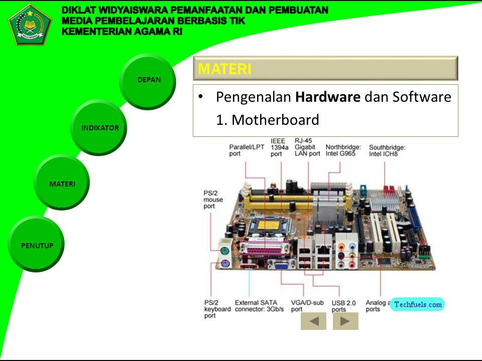 DEPAN INDIKATOR MATERI PENUTUP MATERI Pengenalan Hardware dan Software 1. Motherboard