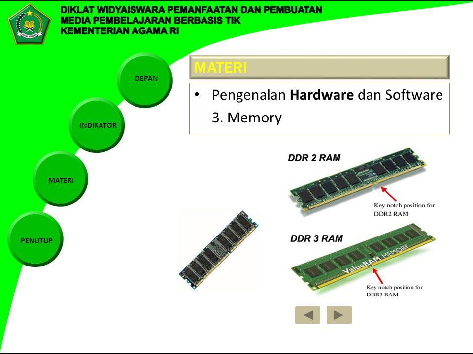 DEPAN INDIKATOR MATERI PENUTUP MATERI Pengenalan Hardware dan Software 3. Memory
