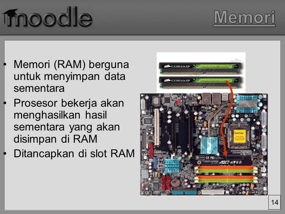 13 Hardisk: Digunakan untuk menyimpan data permanen Dihubungkan ke motherboard melalui kabel data Terdapat juga external harddisk