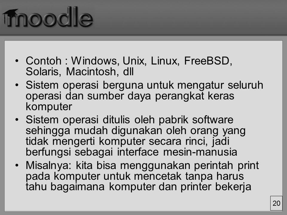19 Sebenarnya seseorang harus tahu cara kerja detail perangkat keras agar dapat menulis perangkat lunak Tetapi tidak semua orang tahu cara kerja peran