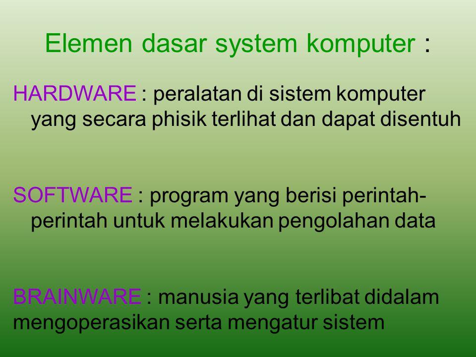 Elemen dasar system komputer : HARDWARE : peralatan di sistem komputer yang secara phisik terlihat dan dapat disentuh SOFTWARE : program yang berisi p