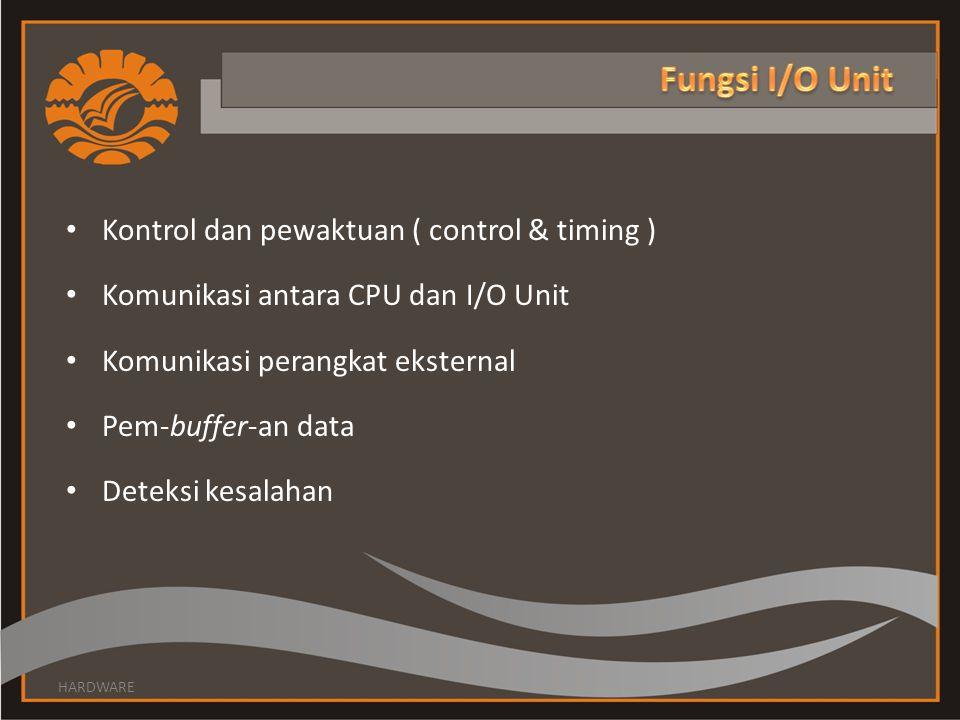 Kontrol dan pewaktuan ( control & timing ) Komunikasi antara CPU dan I/O Unit Komunikasi perangkat eksternal Pem-buffer-an data Deteksi kesalahan HARDWARE