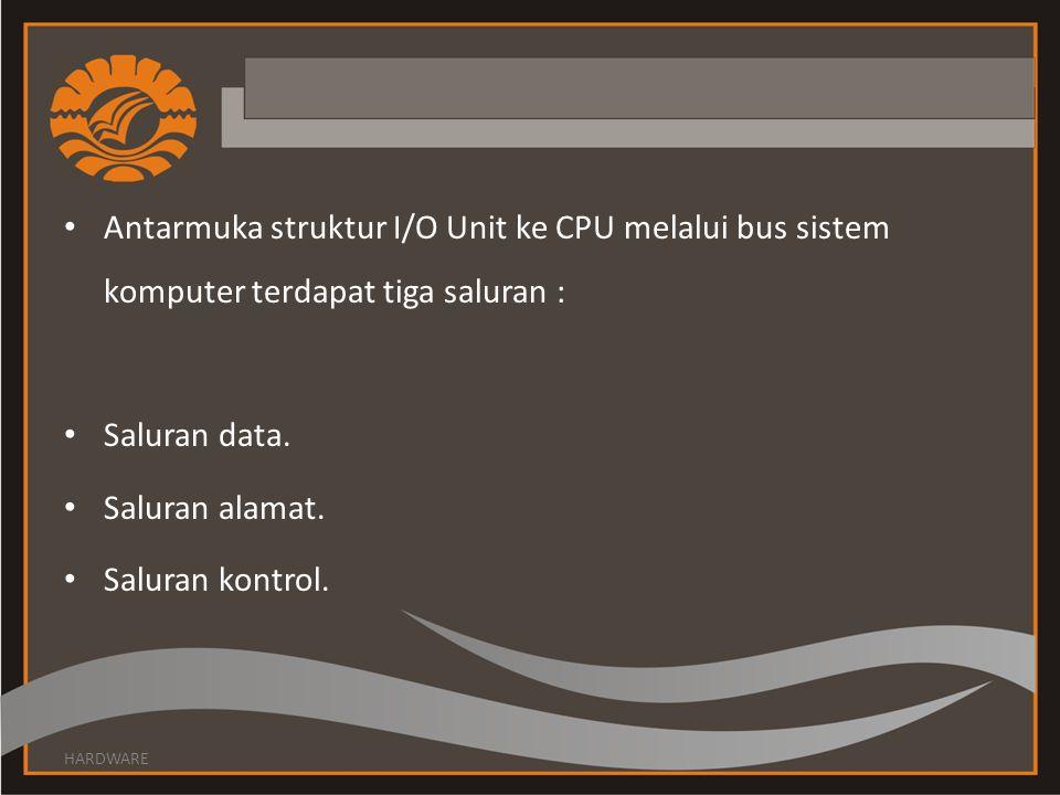 Antarmuka struktur I/O Unit ke CPU melalui bus sistem komputer terdapat tiga saluran : Saluran data.