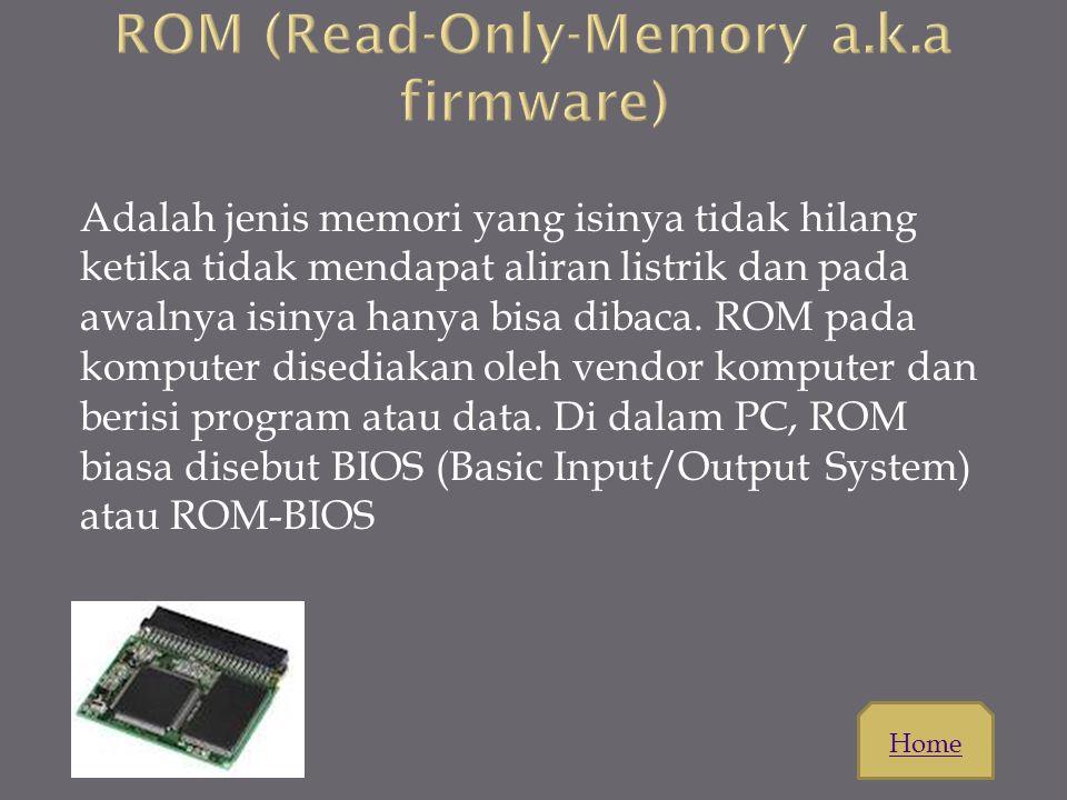 Memiliki fungsi menyimpan data sama seperti disket tapi yag embedakan adalah port USB dan Kapasitas memori yang cukup besar rata-rata 128MB,1GB,2GB,4G