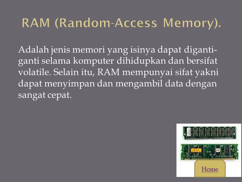 Adalah jenis memori yang isinya tidak hilang ketika tidak mendapat aliran listrik dan pada awalnya isinya hanya bisa dibaca. ROM pada komputer disedia