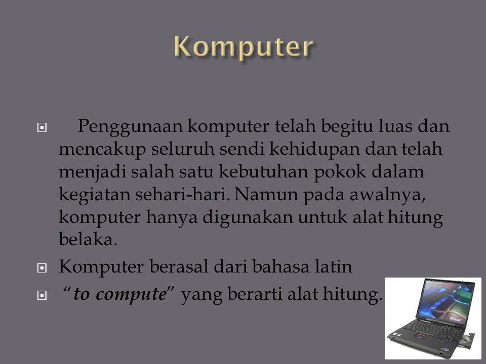  Penggunaan komputer telah begitu luas dan mencakup seluruh sendi kehidupan dan telah menjadi salah satu kebutuhan pokok dalam kegiatan sehari-hari.