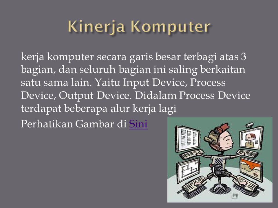kerja komputer secara garis besar terbagi atas 3 bagian, dan seluruh bagian ini saling berkaitan satu sama lain.