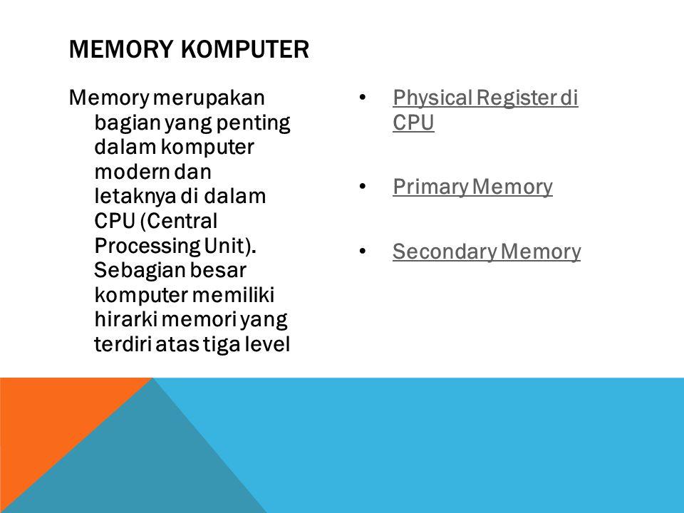 Memory merupakan bagian yang penting dalam komputer modern dan letaknya di dalam CPU (Central Processing Unit).
