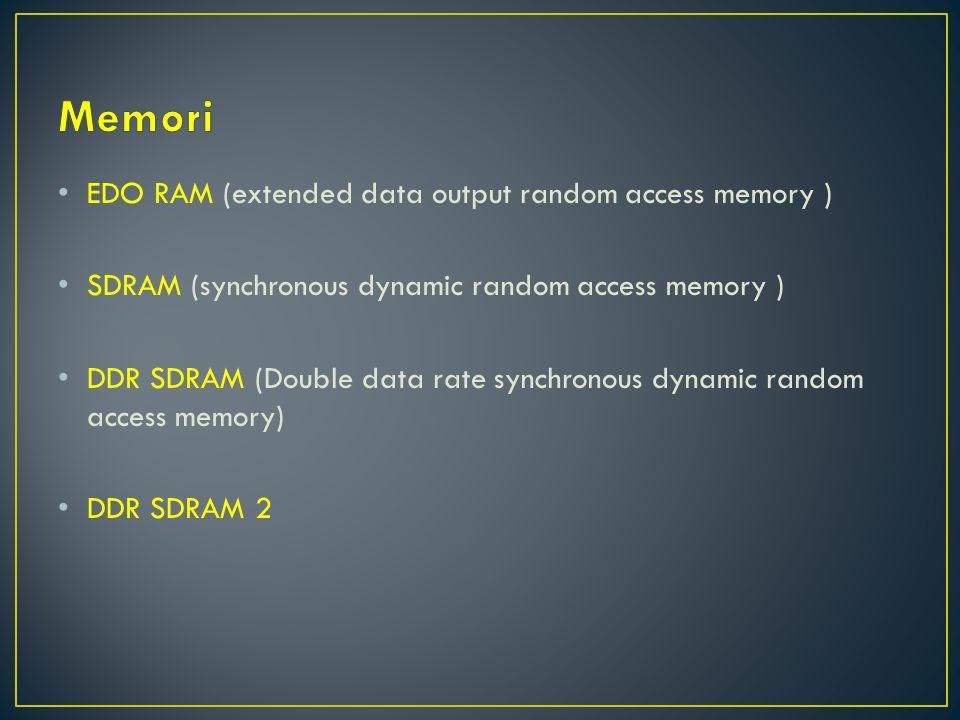 EDO RAM (extended data output random access memory ) SDRAM (synchronous dynamic random access memory ) DDR SDRAM (Double data rate synchronous dynamic