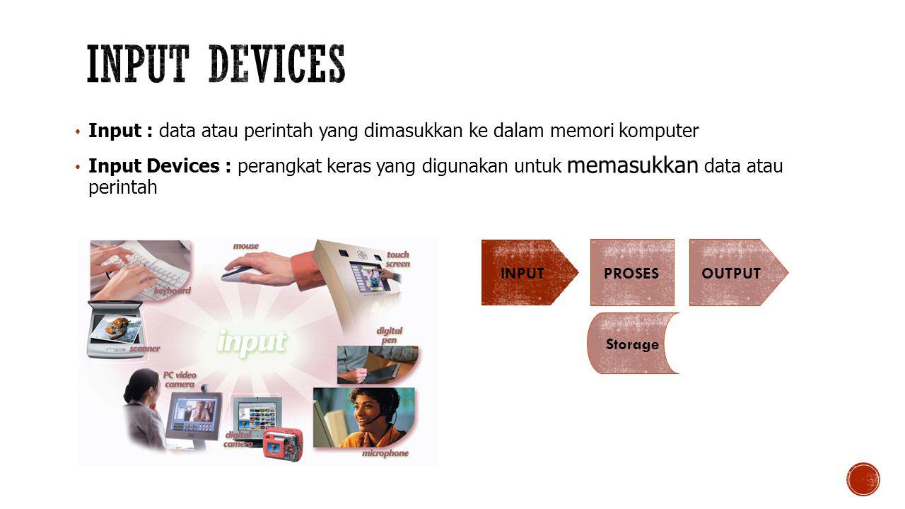Input : data atau perintah yang dimasukkan ke dalam memori komputer Input Devices : perangkat keras yang digunakan untuk memasukkan data atau perintah INPUT PROSES Storage OUTPUT