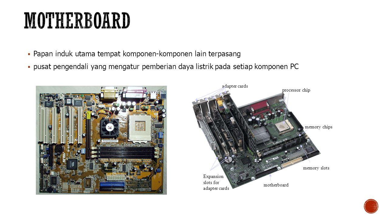  Papan induk utama tempat komponen-komponen lain terpasang  pusat pengendali yang mengatur pemberian daya listrik pada setiap komponen PC processor chip adapter cards memory chips memory slots motherboard Expansion slots for adapter cards