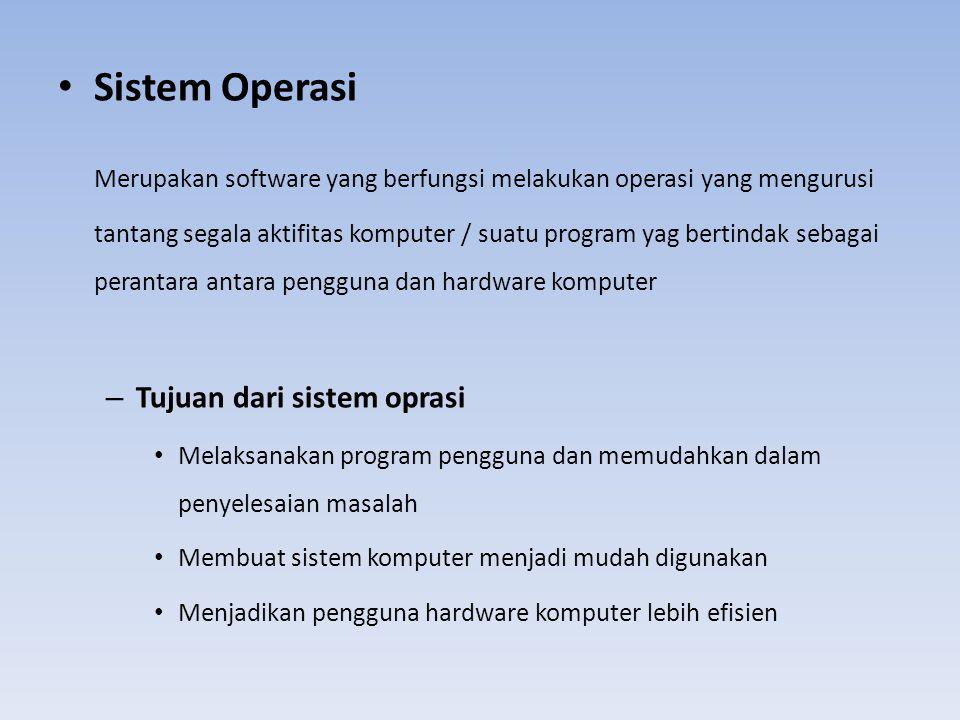 Sistem Operasi Merupakan software yang berfungsi melakukan operasi yang mengurusi tantang segala aktifitas komputer / suatu program yag bertindak seba