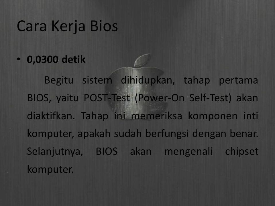 Cara Kerja Bios 0,0300 detik Begitu sistem dihidupkan, tahap pertama BIOS, yaitu POST-Test (Power-On Self-Test) akan diaktifkan. Tahap ini memeriksa k