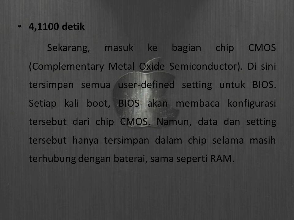4,1100 detik Sekarang, masuk ke bagian chip CMOS (Complementary Metal Oxide Semiconductor). Di sini tersimpan semua user-defined setting untuk BIOS. S