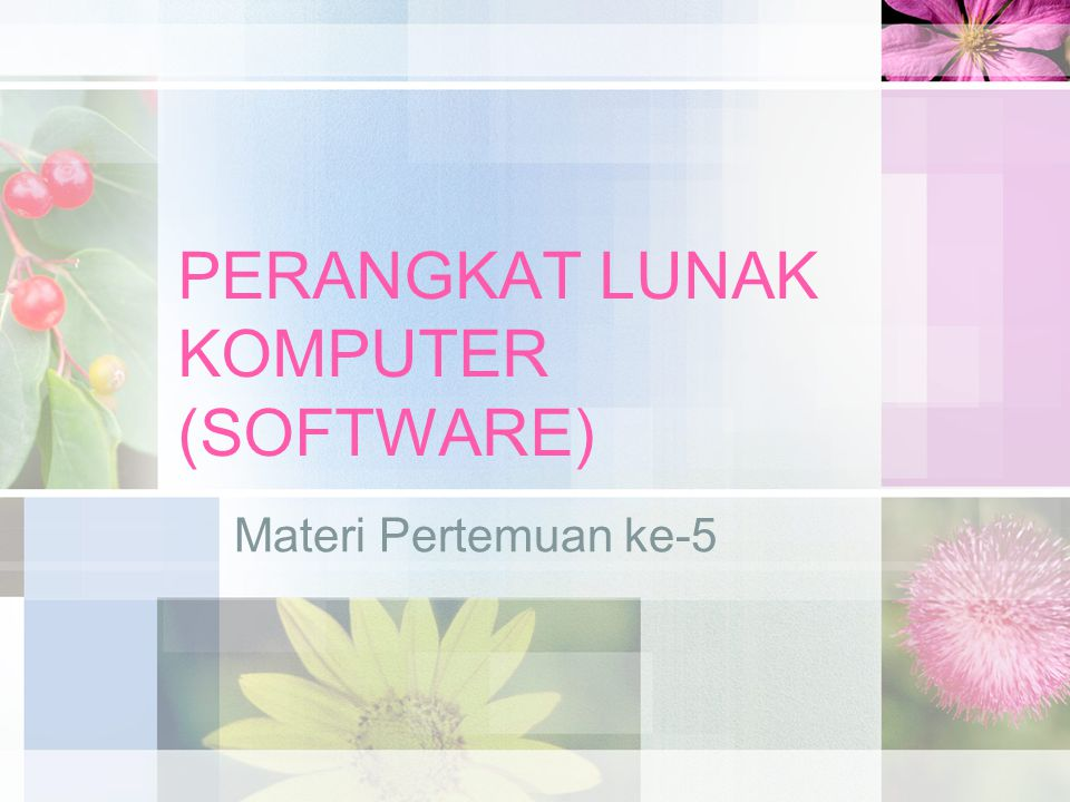 Pengertian Software Perangkat lunak (software) komputer adalah suatu perangkat yang berisi serangkaian instruksi, program, prosedur, pengendali, pendukung, dan aktifitas-aktifitas pengolahan perintah pada sistem komputer Hardware komputer akan hidup dan memiliki fungsi jika digunakan bersama-sama dengan software-nya.