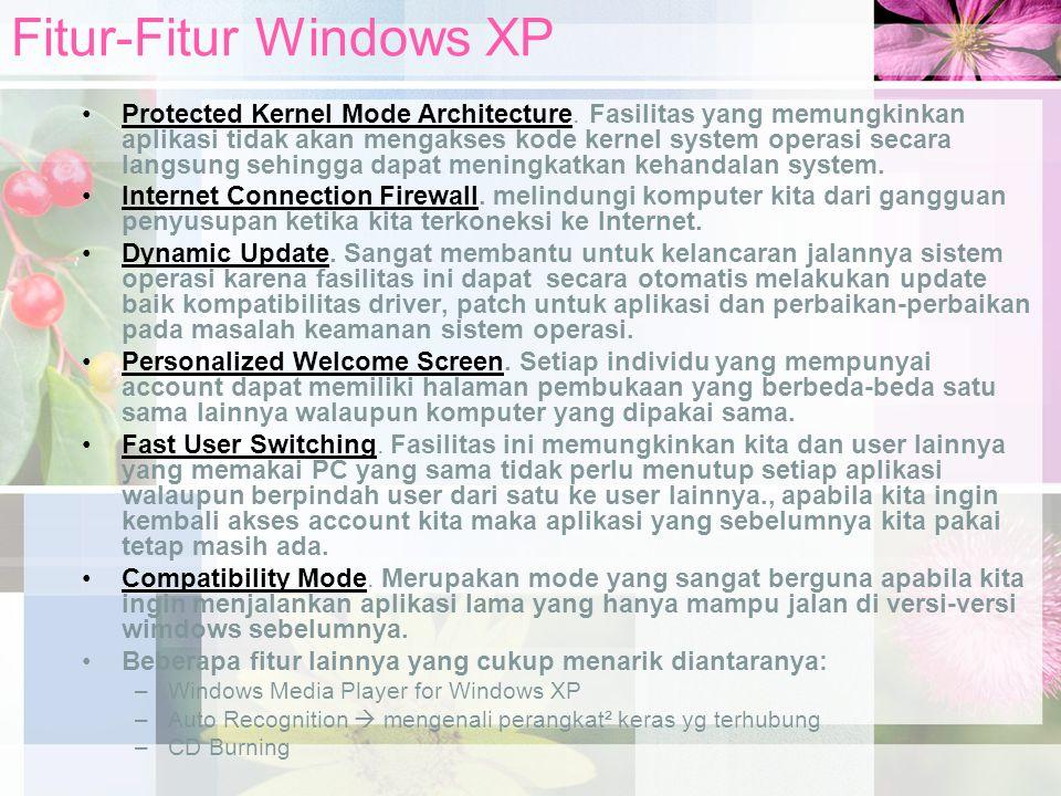 Fitur-Fitur Windows XP Protected Kernel Mode Architecture. Fasilitas yang memungkinkan aplikasi tidak akan mengakses kode kernel system operasi secara