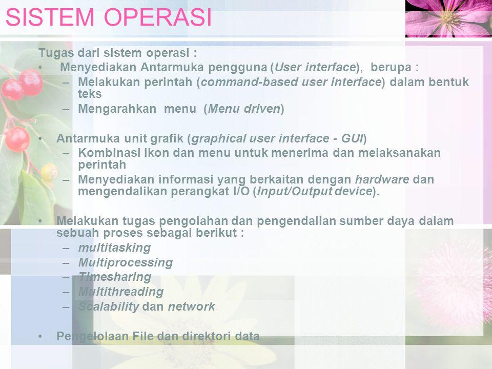 SISTEM OPERASI Sistem operasi akan memberikan efisiensi penggunaan sistem berupa : –Resource allocator : mengalokasikan sumberdaya ke beberapa pengguna –Proteksi : menjamin akses ke sistem sumber daya dikendalikan (pengguna dikontrol aksesnya ke sistem).