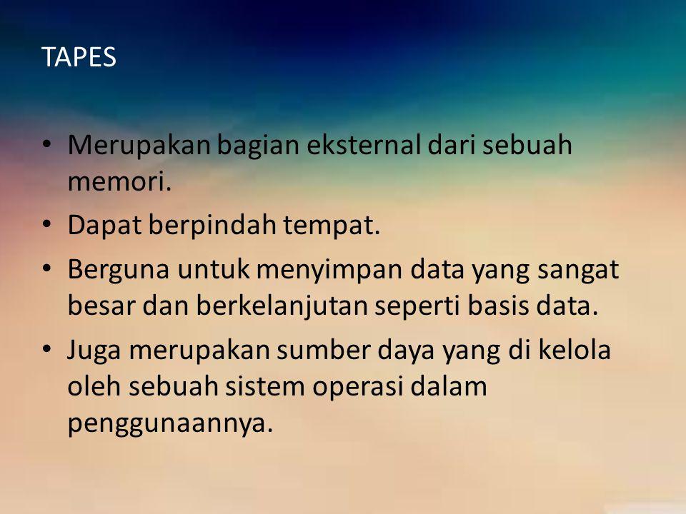 TAPES Merupakan bagian eksternal dari sebuah memori. Dapat berpindah tempat. Berguna untuk menyimpan data yang sangat besar dan berkelanjutan seperti