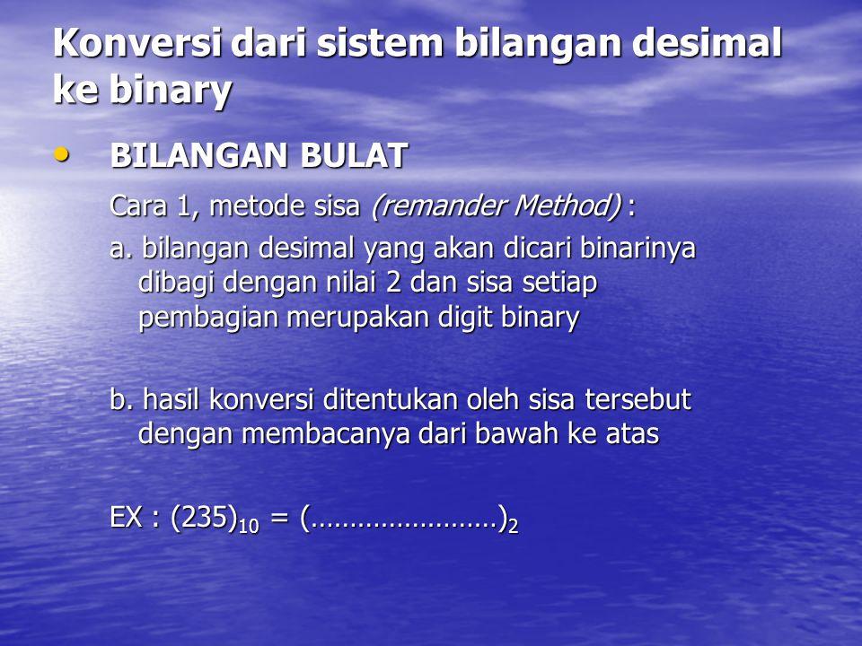 Konversi dari sistem bilangan desimal ke binary BILANGAN BULAT BILANGAN BULAT Cara 1, metode sisa (remander Method) : a. bilangan desimal yang akan di