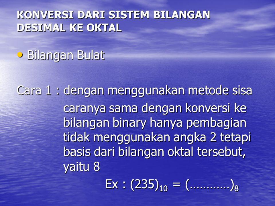 KONVERSI DARI SISTEM BILANGAN DESIMAL KE OKTAL Bilangan Bulat Bilangan Bulat Cara 1 : dengan menggunakan metode sisa caranya sama dengan konversi ke b