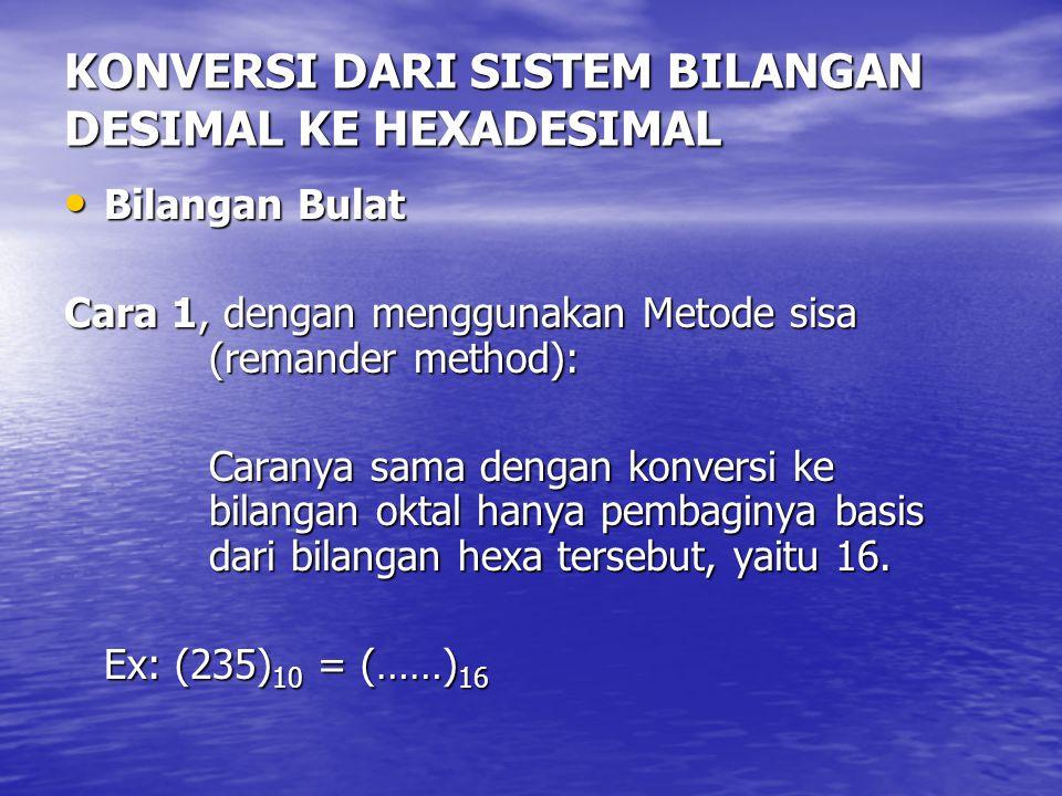 KONVERSI DARI SISTEM BILANGAN DESIMAL KE HEXADESIMAL Bilangan Bulat Bilangan Bulat Cara 1, dengan menggunakan Metode sisa (remander method): Caranya s