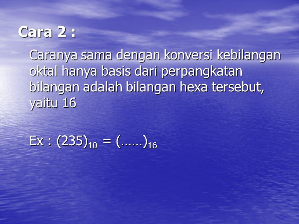 Cara 2 : Caranya sama dengan konversi kebilangan oktal hanya basis dari perpangkatan bilangan adalah bilangan hexa tersebut, yaitu 16 Ex : (235) 10 =
