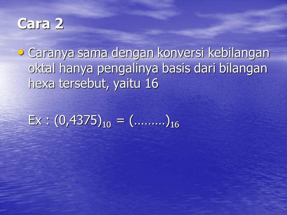 Cara 2 Caranya sama dengan konversi kebilangan oktal hanya pengalinya basis dari bilangan hexa tersebut, yaitu 16 Caranya sama dengan konversi kebilan